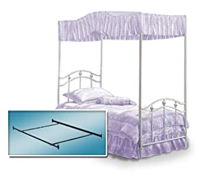 White Twin Princess Bed Frame & Canopy Frame with Lavender Purple Canopy Fabric Set