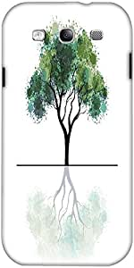 Snoogg Illustration Of A Green Tree With Grungy Effects And Mirror Image Isol...