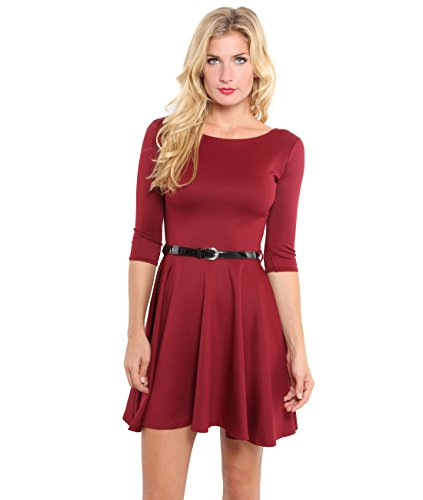 9072,KRISP Womens 3/4 Sleeve Belted Flare Skater Dress Pleated Slimming Mini Tunic(Berry,16)