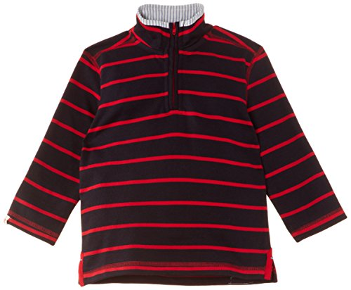 Hatley Little Boys' Mock Neck Sweater Striped, Navy/Red, 7