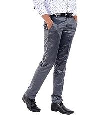 S9 Men Men's Viscose Slim Fit Trousers - Silver Grey, (28)