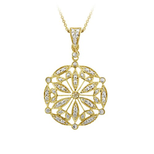 18k Yellow Gold Plated Sterling Silver Diamond-Accent Medallion Pendant Necklace