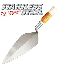 "Bon Tool Narrow London Stainless Steel Masonry Trowel 11-1/2"" with Leather Handle"