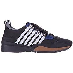 Dsquared2 scarpe sneakers uomo in pelle nuove 251 nabuk nero