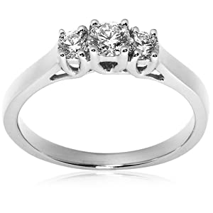 14k White Gold 3-Stone Diamond Ring