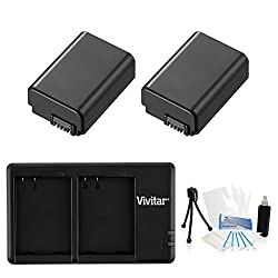 2-Pack NP-FW50 High-Capacity Replacement Battery with Rapid Dual Charger for Select Sony Digital Cameras - UltraPro Bundle Includes: Camera Cleaning Kit, Camera Screen Protector, Mini Travel Tripod