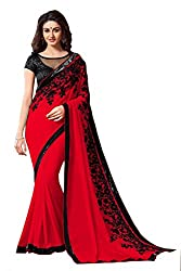 Women's Exclusive Red Embroidery Work Georgette Sari with Blouse
