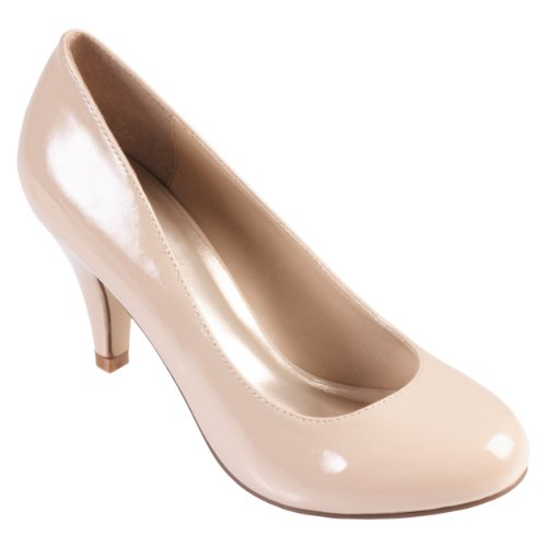 Brinley Co. Womens Round Toe Solid Color Pumps (9 Wide Width, Nude Patent)