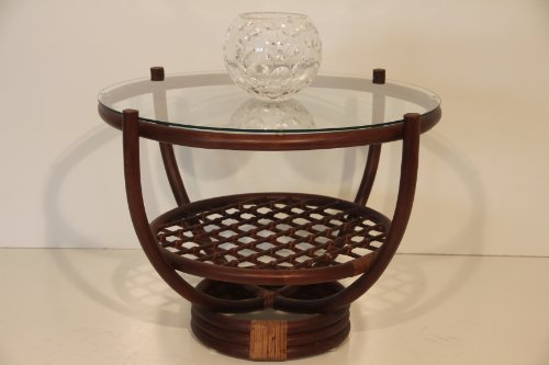 Capri Rattan Wicker Handmade Round Coffee Table With Glass (Dark Brown)