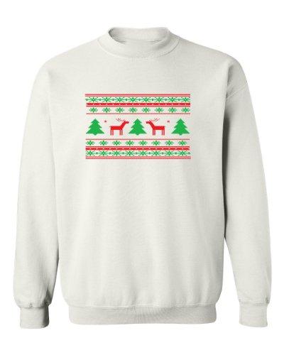 Festive Threads Ugly Christmas Sweater (Deer Design) White Adult Sweatshirt (3-Xl)