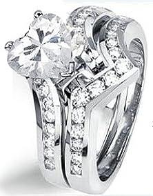 buy 1.00 Ct Genuine Heart Diamond Engagement Wedding Ring 14K Gold (0.50 Ct Center E - F / Vs2 - Si1)
