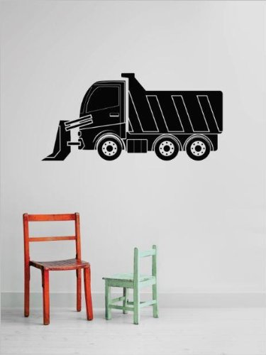 Vinyl Wall Decal Sticker : Tractor Dump Truck Demolish Demolition Construction Operation Equipment Kids Boys Tools Bedroom Bathroom Living Room Picture Art Peel & Stick Mural - Discounted Sale Price Size: : 14 Inches X 30 Inches - 22 Colors Available