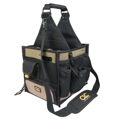 Custom leathercraft 1528 22 pocket large electrical and for Small garden tool carrier