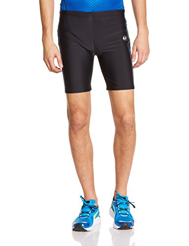 Ultrasport Men's Short Quick-Dry-Function Running Tights - Black/Victoriablue, Small