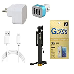 13Tech 1.0 Amp USB Charger+3 mtr Copper (Data Transfer+Charging) Cable +3 Jack Car Charger+Sefie Stick Aux+Tempered Glass for Xolo Prime
