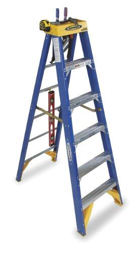Werner OBCN06 Old Blue Series 375-Duty Rating Type IAA Contractors Job Station Fiberglass Stepladder, 6-Foot