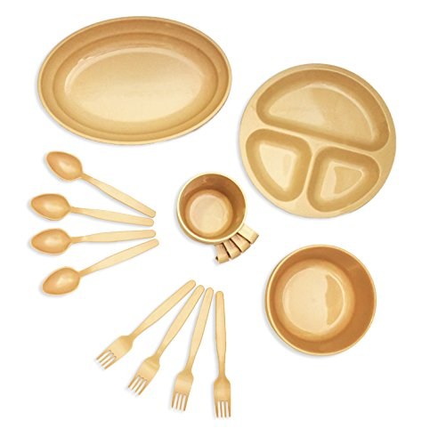 Wealers 24 Piece Plastic Reusable Tableware Set Outdoor Dinnerware Set Plates Cups Bowls Spoons Forks Great for Picnic ...  sc 1 st  Anna Linens & Wealers 24 Piece Plastic Reusable Tableware Set Outdoor Dinnerware ...