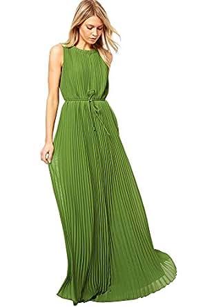 Amazon.com: Jooniyaa Women's Pleated Maxi Dress Green X