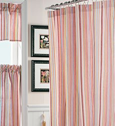 Cottage Stripe Shower Curtain Raspberry