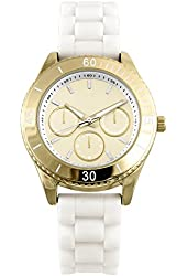 Women's Gold and white silicone watch