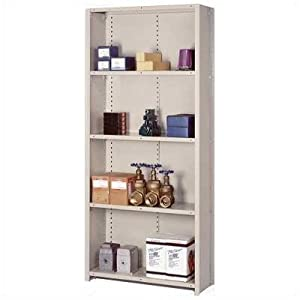 """8000 Series Closed Shelving - 5 Shelves: 84"""" H x 48"""" W x 18"""" D Color: Putty, Section Type: Starter (4 posts), Shelf Type: Wire"""