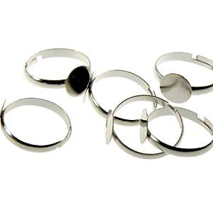 10 Supports de bague fimo plateau réglable 10mm création bijoux - Argenté