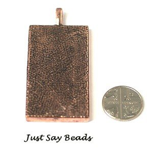 Red Copper Very Large Rectangle Pendant Charm 60mm - Quality Jewellery Making Findings (Ref9B13)