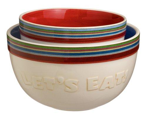 """Grasslands Road """"Let'S Eat"""" Serving Bowls, 9-Inch, Set Of 2"""