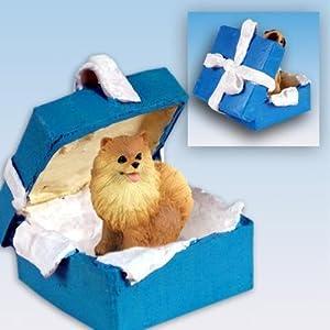Pomeranian Blue Gift Box Dog Ornament - Red