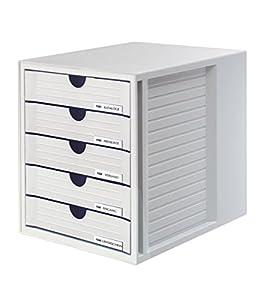 HAN 1450-11 Schubladenbox SYSTEMBOX, DIN A4 und größer, 5 geschlossene Schubladen, lichtgrau