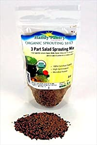 3 Part Salad Sprout Seed Mix - 8 Oz. - Handy Pantry Brand - Organic Sprouting Seeds: Radish, Broccoli & Alfalfa: Cooking, Food Storage or Salad Sprouts
