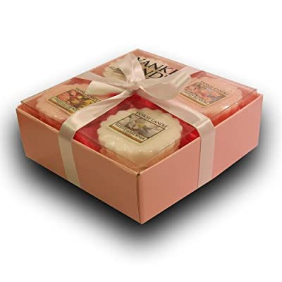 Yankee Candle - 12 Floral Wax Potpourri Tart Branded Gift Box Set Incl 3x Wedding Day 3x Cherry Blossom 3x Fresh Cut Roses 3x White Gardenia In A Pink Box With Pink Tissue Paper White Ribbon by Yankee Candle