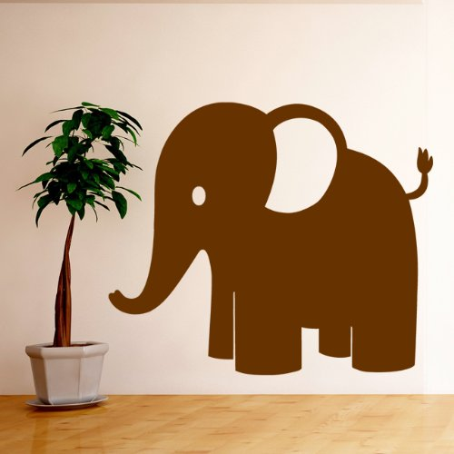 Childrens Elephant Jungle Animal Wall Sticker - Art Vinyl Decal Stickers, Bedroom, Living Room, Easy to Apply, Free Applicator, Easy Peel - (PLEASE CHOOSE YOUR SIZE & COLOUR USING DROP DOWN MENU) - by Rubybloom Designs