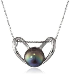 Sterling Silver Heart Pendant Necklace with Freshwater Cultured Peacock Black Button Pearl (9.5-10mm ), 18""