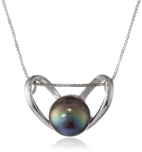 Sterling Silver Heart Pendant Necklace with Freshwater Cultured Peacock Black Button Pearl (9.5-10mm ), 18