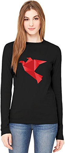 Red Origami Bird T-Shirt da Donna a Maniche Lunghe Long-Sleeve T-shirt For Women| 100% Premium Cotton Ultimate Comfort Small