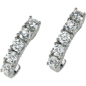 14k White Gold Created Moissanite Earring 1 3/4ct - JewelryWeb