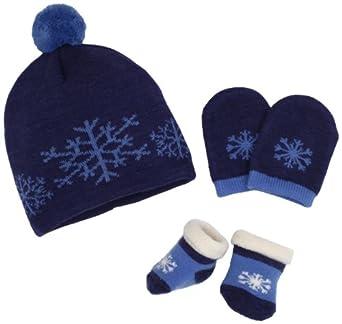 Country Kids Baby-boys Newborn Snowflake Hat Set, Navy, 0-12 Months