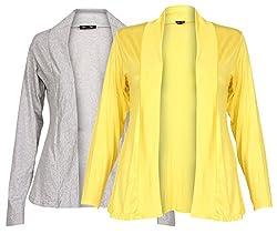 Ten on Ten Womens Pair of Grey/ Yellow Long Shrug