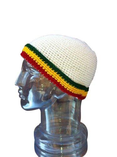 Hand Crotchet Cotton Folded Brim Rasta Reggae Toboggan Winter Ski Beanie Cap front-491155