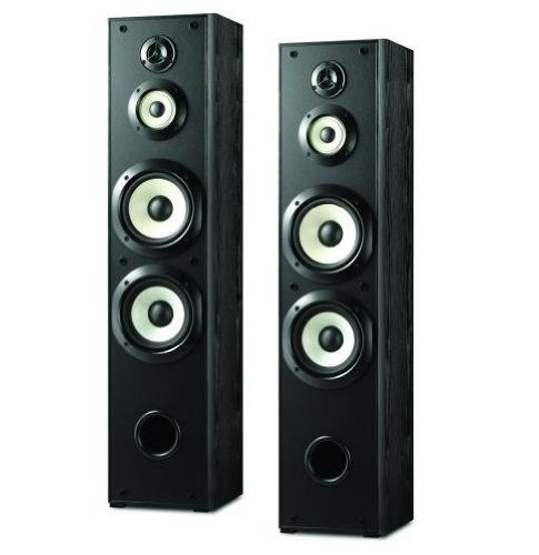 "Sony Powerful 200 watts 4-Way Floor Standing Speakers (Pair) with Dual 8"" Mica Reinforced Woofers, 1"" Nano Fine Balanced Dome Tweeter and 3 ¼"" Enhanced H.O.P. Cone Mid Driver - Black Finish"