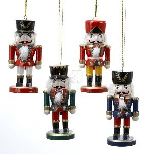 "WOODEN NUTCRACKER ORNAMENT - 4"" WOODEN NUTCRACKER ORNAMENT SET OF 4 - Christmas Ornament"