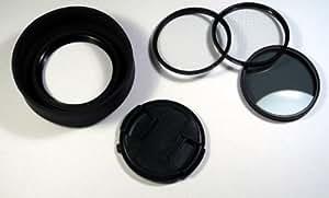UV, Polfilter, Gitter, Deckel und Sonnenblende 58mm für Canon PowerShot S2 S3 S5 IS (DK32B58mm)