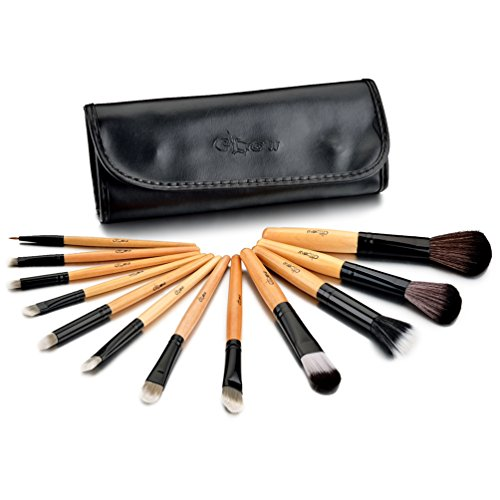 Glow 12 PC professionale pennelli trucco fissati (Wooden Handle Black Case)