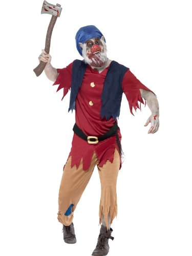 Smiffy's Men's Zombie Dwarf Costume Top Attached Waistcoat Trousers and Mask