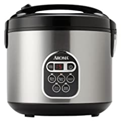 Aroma ARC-150SB 10-Cup (Uncooked) 20-Cup (Cooked) Digital Rice Cooker and Food Steamer Black/Silver