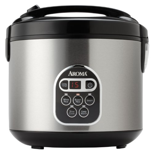 Aroma ARC-150SB 10-Cup (Uncooked) 20-Cup (Cooked) Digital Rice Cooker and Food Steamer, Black/Silver