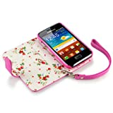 Terrapin Premium PU Leather Wallet Case/Cover/Pouch/Holster with Floral Interior for Samsung Galaxy Ace Plus S7500 - Hot Pink