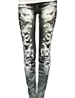 Women's Punk False Broken Hole Denim Print Fake Jeans Leggings (Black)