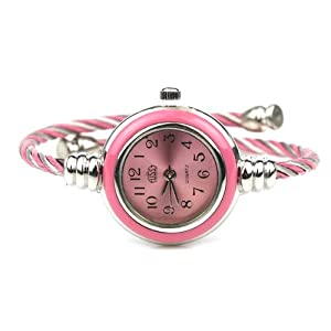 Womens Silver Classic Twisted Band Bracelet Round Wrist Watch Pink